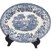"Blue and White 12"" Platter by Churchill English Original Blue Willow Pattern"