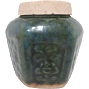 Antique Chinese Green Pottery Food/Spices Storage Jar with Original Lid