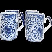 Set of 4 Blue and White Porcelain Asian Mugs