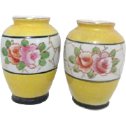 Pair of Miniature/Doll House Yellow Vases by HKATO Occupied Japan