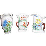 Set of 3 Miniature White Porcelain Vases Floral Design Made in Occupied Japan