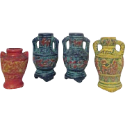 Set of 4 Miniature Vases Made in Occupied Japan