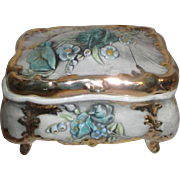 Ornate Porcelain Footed Box with Lid