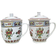 Pair of Chinese Motif Lidded Cups for Tea or Coffee