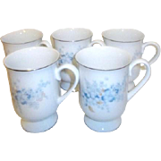 Set of 5 Porcelain Mugs with Platinum Trim