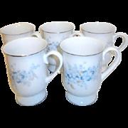 Set of 5 Porcelain Mugs with Platinum Trim