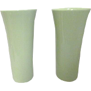 Pair of Soft Moss Green FTD Vases