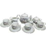 14 Piece Avon Tea Set with Currier and Ives Winter Scene