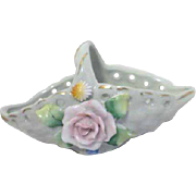 Small Porcelain Basket with Applied Rose and Leaves Pierced Trim