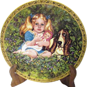 Decorator Plate Jenny Girl with Basset Hound Signed by Artist Nancy Turner