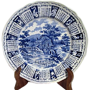 Alfred Meakin Staffordshire England Blue and White 1970 Calendar Plate