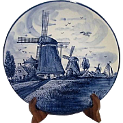 Delft Blue and White Hand Painted Plate with Windmills from Holland