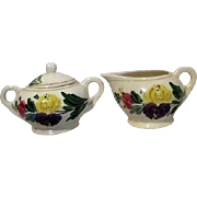 Ceramic Cream and Sugar Set with Bold Flowers