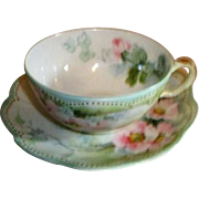 Haviland Cup and Saucer with Pink Wild Roses