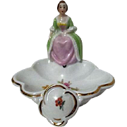 Porcelain Lady on Trinket Bowl Made in Germany U.S. Zone