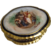 Porcelain Vanity Box Hand Decorated from Czechoslovakia Roman Scene