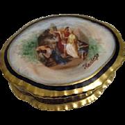 Porcelain Vanity Box Hand Decorated from Czechoslovakia Roman Scene