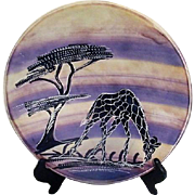 Hand Decorated Plate with Giraffe from Kenya