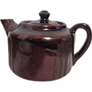 Heavy Brown Pottery Teapot