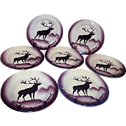 Set of 7 Salad Plates from Royal Jackson China with Elk Silhouette
