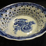 Vintage Blue & White  Ceramic Pierced Oriental Bowl