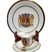 Four Piece Commemorative Coronation of Queen Elizabeth 1953 Set Plates Cup and Saucer