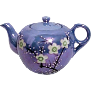 Periwinkle Blue Lustreware Tea Pot with Spring Blossom Decorations Made in Japan