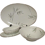 "Noritake Platinum Trim Bambina Design 16"" Platter, Gravy Boat and Vegetable Bowl Set"
