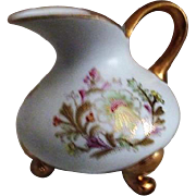Footed Creamer with Gold Trim Hand Painted from HHH