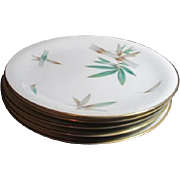 Set of 5 Noritake Canton Dinner Plates with Gold Trim