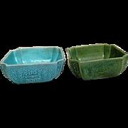 Two Ceramic Asian Design Square Bowls