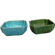 Two Ceramic Asian Design Square Bowls