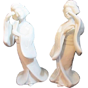 Pair of Solid White Porcelain Geisha Girl Figurines