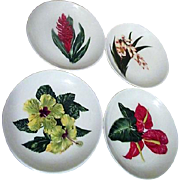 Santa Anita Flowers of Hawaii Set of 4 Bread & Butter or Dessert Plates