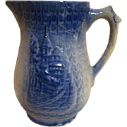 Antique Blue Salt Glaze Pitcher Late 1800's European
