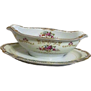 Dreamland Pattern Gravy Boat with Attached Plate by Fuji China Made in Occupied Japan