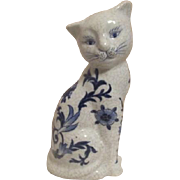 Blue and White Ceramic Cat with Decorative Crazing