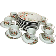 Avon Porcelain Set of 8 Dessert Plates and 7 Demitasse Cups and Saucers Strawberry Design
