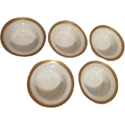 Set of 5 Limoges GDA Gold Edged Finger Bowls Nantes Pattern