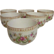 Set of 6 Japanese Tea Cups with Roses Front and Back