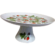 Footed Cake Plate with Strawberries Shafford Porcelain 1980