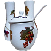 Royal Worcester Evesham Pattern Mustard Pot and Salt & Pepper Shakers 1961