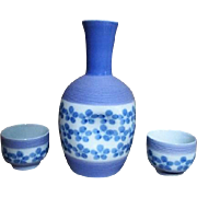 Sake Set Lavender Blue Signed Two Cups
