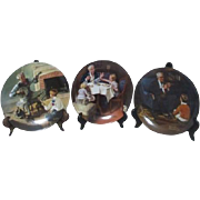 Set of 3 Norman Rockwell Decorator Plates with Family Scenes