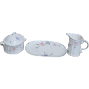 Mikasa Maxima Tremont Pattern Cream and Sugar with Butter Tray