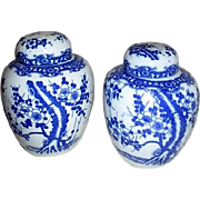 Pair of Blue and White Lidded Ginger Jars with Blossoming Tree Design