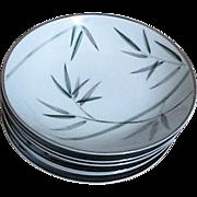 Noritake Platinum Trim Bambina Design 6 Soup Plates