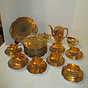 20 Piece Bavarian Dessert Serving Set 24 Carat Gold Encrusted and Platinum 1928-1946