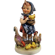 Hummel Figurine Feeding Time Young Girl with Chickens Goebel West Germany