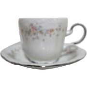Bavarian Large Cup and Saucer from Johann Haviland Platinum Trim Floral Splendor